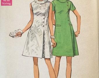 "Simplicity 8541 Misses' Jiffy Dress Pattern, UNCUT, Size 18, Bust 40"", Vintage 1969, Simple To Sew Pattern, Cotton, Linen, Flashback"