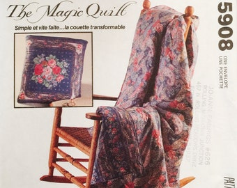McCall's Crafts 5908 Quick and Easy The Magic Quilt Pattern, UNCUT, Vintage 1992, Folds into a Pillow, Home Decor