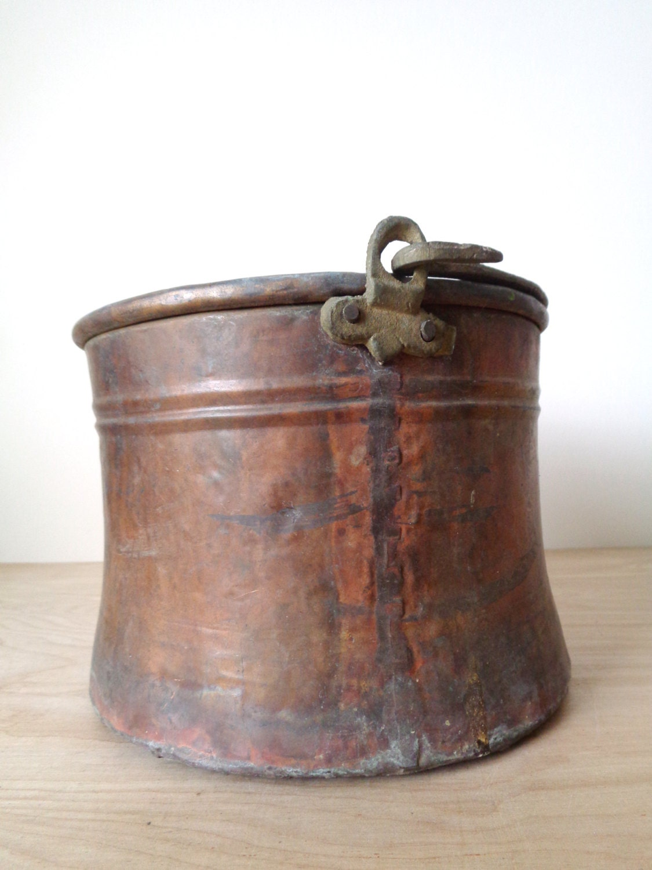 Antique Copper Planter Pot Bucket With Handle
