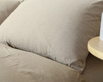 SALE Pillow case 100% Linen Taupe Gray color pure Flax - Washed Softened Medium weight - Euro size - Ready to ship
