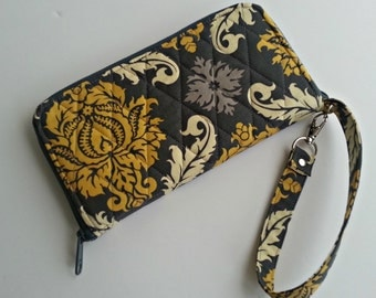 Zipper Zip Around Quilted Wristlet Wallet Carry all in Aviary Damask Granite