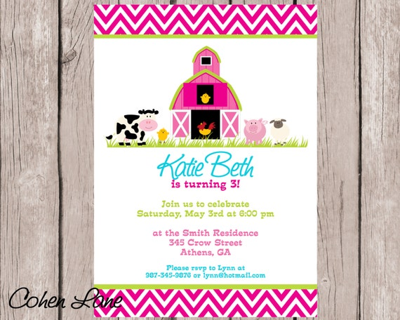 Pink Barnyard Birthday Invitation Farm Party Invitation Farm