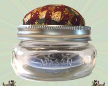 Mason Jar Sewing Kit & Pin Cushion Made from Upcycled Silk Necktie, Cottage Chic Sewing Accessory, An Original Design by The Granny Squared