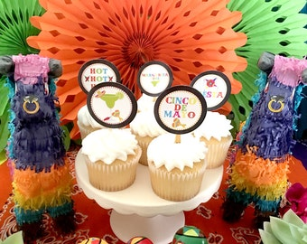 Cinco de Mayo Party Fiesta Cupcake Toppers INSTANT DOWNLOAD