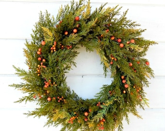 Fall Wreath-Autumn Wreath-Fall Door Wreath-Fall Home Decor-Cedar Door Wreath-Thanksgiving Wreath-Outdoor Wreath-Scented Wreath-Housewarming