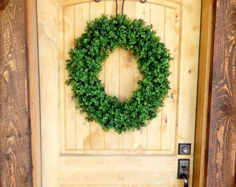 BOXWOOD Wreath-Artificial Boxwood Wreath-Winter Wreath-Year Round Wreath-Rustic Home Decor-Outdoor Wreath-Custom Made Scented Wreaths-Gifts