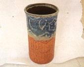 Handbuilt Stoneware Pottery Bathroom Glasses, 6 oz, Small Tumblers, Vases, Pencil Holders, Blue Lace Rim, Burnt Orange