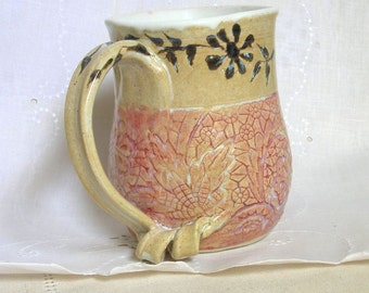 Pottery Coffee Mug, Hand Thrown Stoneware Tea Cup, 16 oz, Lace Texture in Creamy Beige with hints of Charcoal Gray and Coral, Large Handle