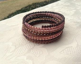 Bronze Rose Memory Wire Bracelet Beaded Jewelry