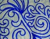 Half Yard-Embroidered georgette Fabric-Traditional Wedding Lehenga-Table Runner-Multi-coloured Embroidered Bags-Crazy Quilt-georgette Fabric