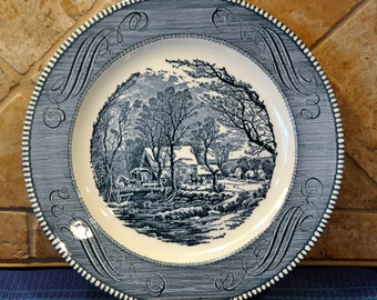 2 Royal CURRIER & IVES Dinner Plates - The Old Grist Mill - Blue and  White 10""