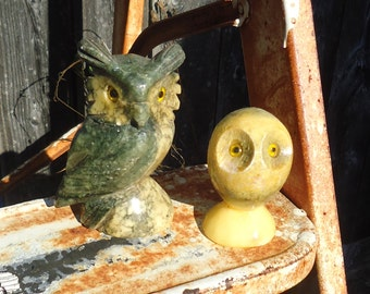 Vintage Lot of 2 Carved Owls (Alabaster or Marble, One Made in Italy)