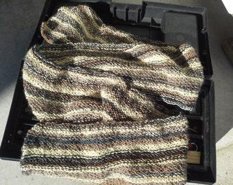 Mens Alpaca Wool Scarf in Brown - Mens Striped College Scarf - Teens Handmade Knit Winter Wrap Fashion Warm Brown Beige (Made to Order)