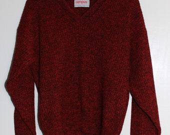 Vintage Red and Black Heather V-Neck Sweater Size L