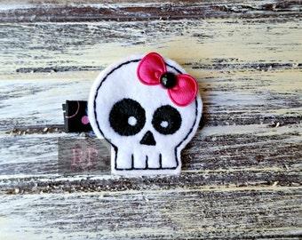 Felt Skull on Alligator Clip - Punk Clip - Embroidered Felt - Day of the Dead Hair Clip