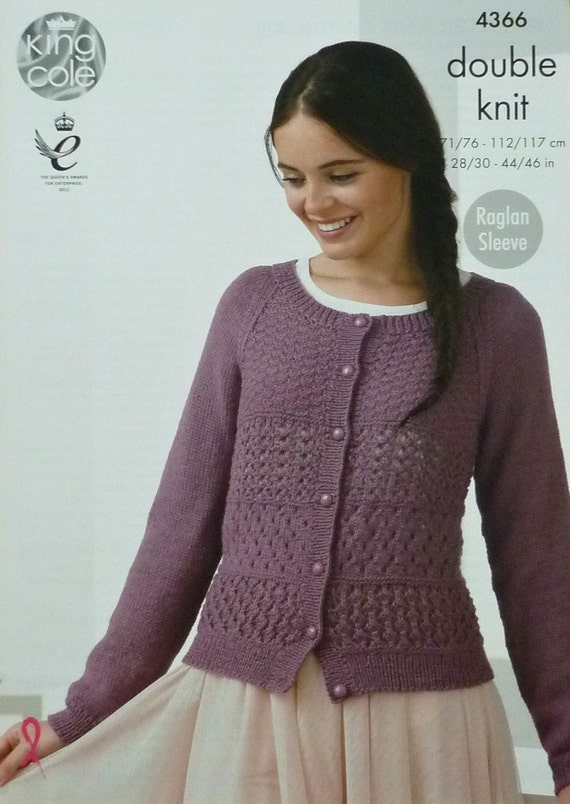 Knitting Pattern Ladies Lacy Cardigan : Womens Knitting Pattern K4366 Ladies Long Raglan Sleeve Lacy