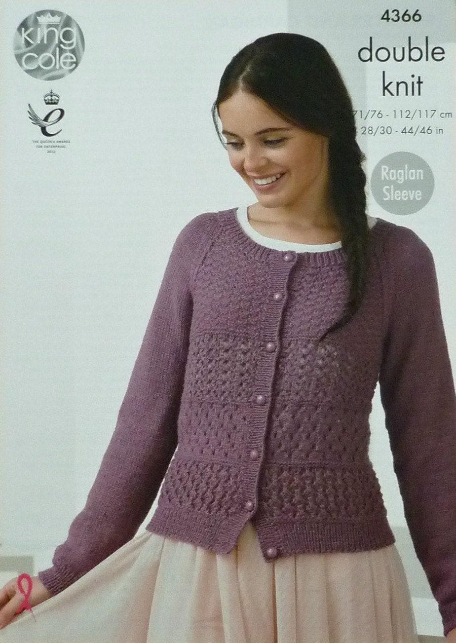 Womens Knitting Pattern K4366 Ladies Long Raglan Sleeve Lacy Jumper Knitting ...