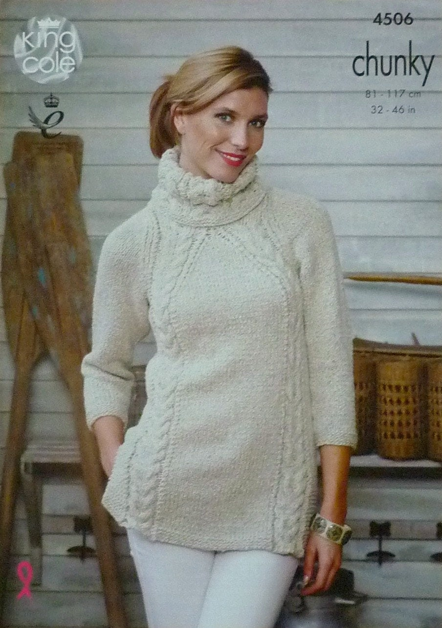 Womens Knitting Pattern K4506 Ladies 3/4 Sleeve Deep Cowl Neck Long Cable Tun...