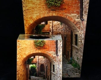 SET Wastebasket and Tissue Box Cover - Arch and Lane in Tuscany