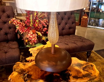 Vintage Murano Lamp Gold Fleck Glass Mid Century Modern Wood Base With Shade Excellent Condition Gold Flake Italian Hand Blown Glass