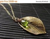 VALENTINE SALE Leaf Necklace in Bronze. Leaf Charm Necklace with Wire Wrapped Glass Teardrop Charm. Handmade Jewelry.
