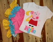 Peppa Pig Outfit, Tank or Short Sleeved Shirt with Shorts,  6-12m to 8 years