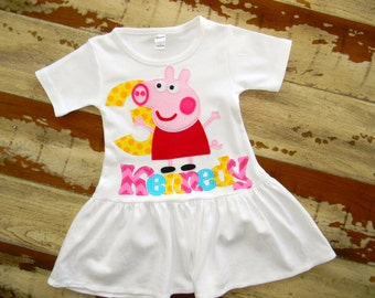 Peppa Pig Personalized Dress, Long Sleeved or Short, 3-6m to 8yrs