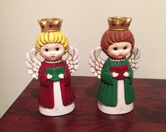 Vintage Ardco angel christmas figurine candle holders with rhinestone detail in their crowns