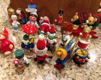 12 Vintage wood ornaments