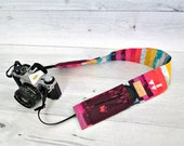 Rainbow Striped Camera Strap Cover. Butterfly DSLR Camera Strap Slip Cover. Camera Strap with Purple Lens Pockets. Gift for Photographers.