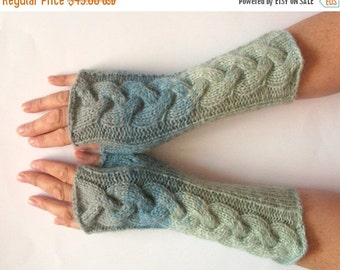 Fingerless Gloves Gray Blue wrist warmers