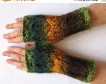 Green Fingerless Gloves Yellow Brown Salad wrist warmers Knit