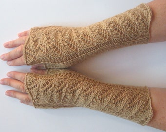 "Long Fingerless Gloves Beige 10"" Arm Warmers  Mittens Soft Wool Acrylic"