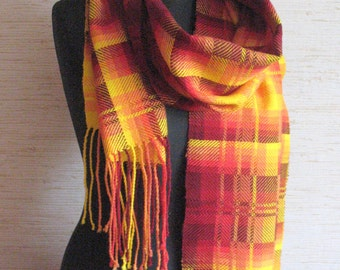Checkered Scarf Red Orange Yellow hand woven cloth 100% hand made (hand-woven cloth)