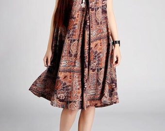 Women summer Cotton printed long big swing Coffee color dress