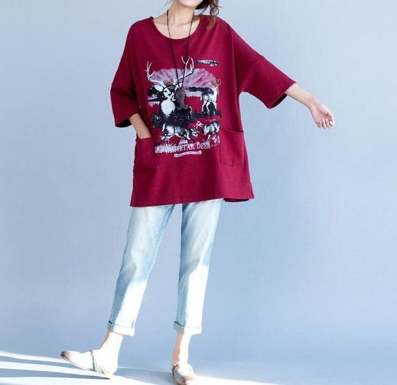 Leisure cotton large size Bat sleeve T-shirt in red/ gray
