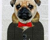 PUG art dog art print wall decor illustration gift pug lover dictionary mixed media