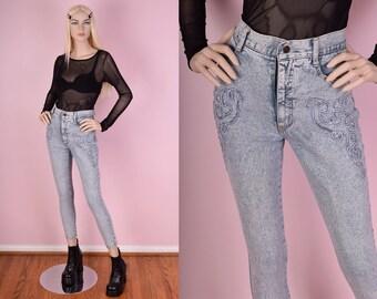 90s High Waisted Acid Wash Skinny Jeans/ 27 Waist/ 1990s/ Slim Fit
