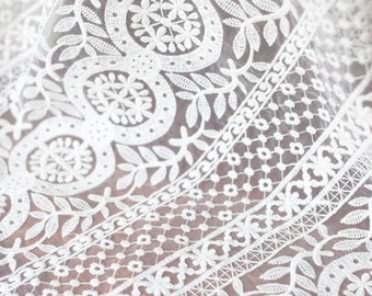 Organza Lace Fabric , circle flowers embroidery W105 , fashion design wedding lace supplies