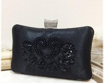 wedding clutch, formal clutch, Black clutch, evening bag, bridesmaid clutch, bridesmaid bag, crystal clutch, evening clutch, Party clutch