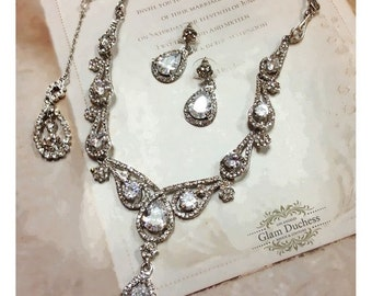 Bridal jewelry set, Wedding jewelry, vintage inspired back drop necklace earrings, Cubic zircon crystal necklace, bridesmaid jewelry set