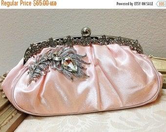 Bridal clutch, pink wedding clutch, Crystal clutch, vintage inspired evening bag, Pink clutch, bridal bag