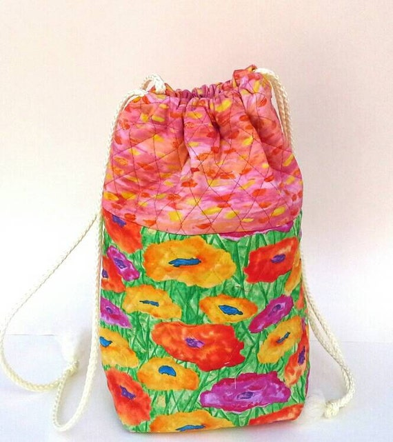 Quilted Knitting Bag Bright Flowers Tote Drawstring Fabric