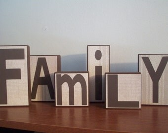 Customize: Family Block Letters, Custom Family Blocks, Home Decor, Mantel Decor, Custom Block Letters