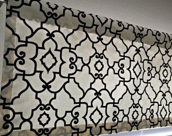 Decorative Designer Valance, Black and Cream Fretwork, Trellis, Covington Windsor Ebony Ivory Custom sizes available