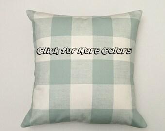 Buffalo Check Pillow Cover, Grey Pillows, Navy Blue Throw Pillow, Gray Accent Pillow Cover, Ecru, Red, Black Checked Modern Pillow
