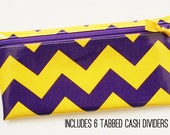 Purple and gold sports fan, school spirit envelope system cash budgeting wallet with 6 tabbed dividers
