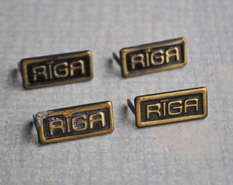 "Vintage brass decors,craft supplies. ""Riga"". Set of 4."