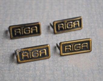"Vintage brass decors,craft supplies. ""Riga"". Set of 4."