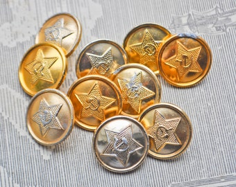 Vintage Soviet Russian military uniform buttons.Set of 10.